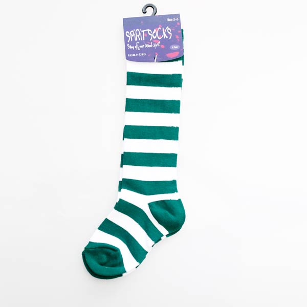 Green & White Baby Socks