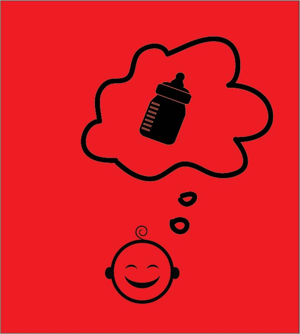 baby thinking about bottle happy cloud