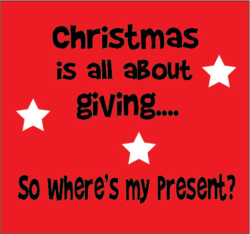 Christmas is all about giving so where's my present personalised baby clothes